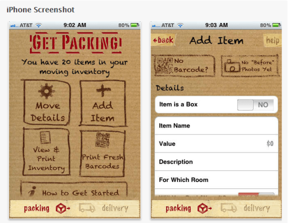 Moving Day app on iPhone